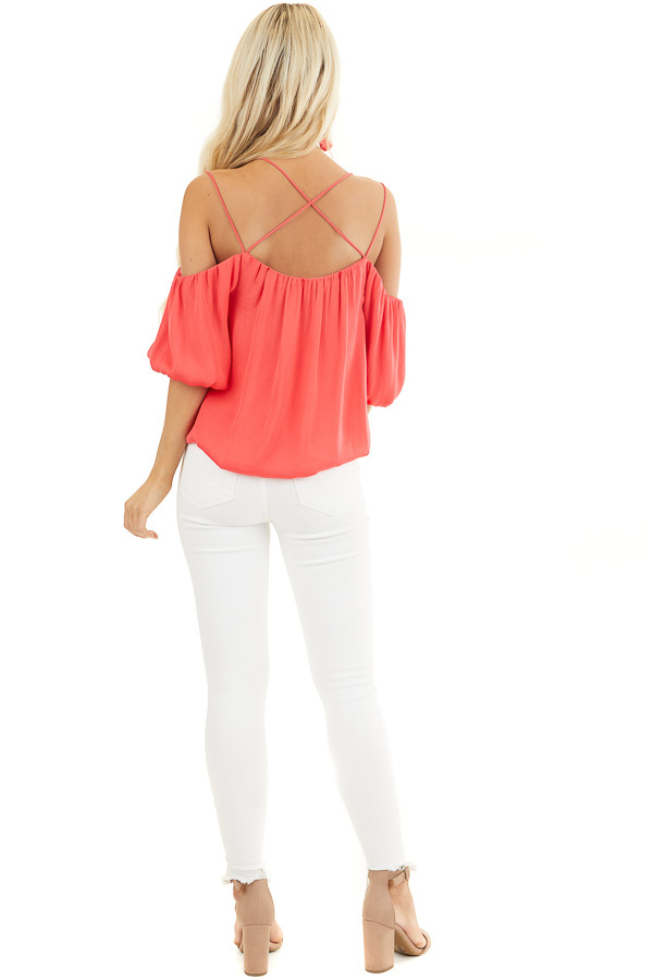 Bright Pink Cold Shoulder Blouse with Bubble Hemline back full body