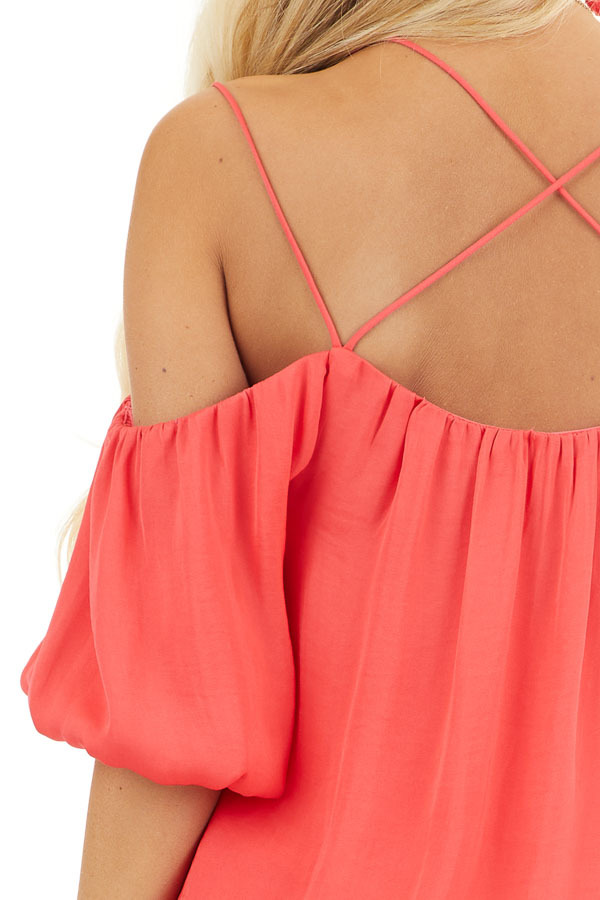 Bright Pink Cold Shoulder Blouse with Bubble Hemline detail
