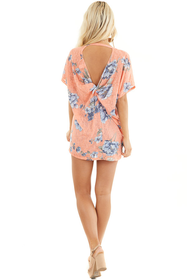 Coral Floral Print Short Sleeve Top with Open Back Detail back full body