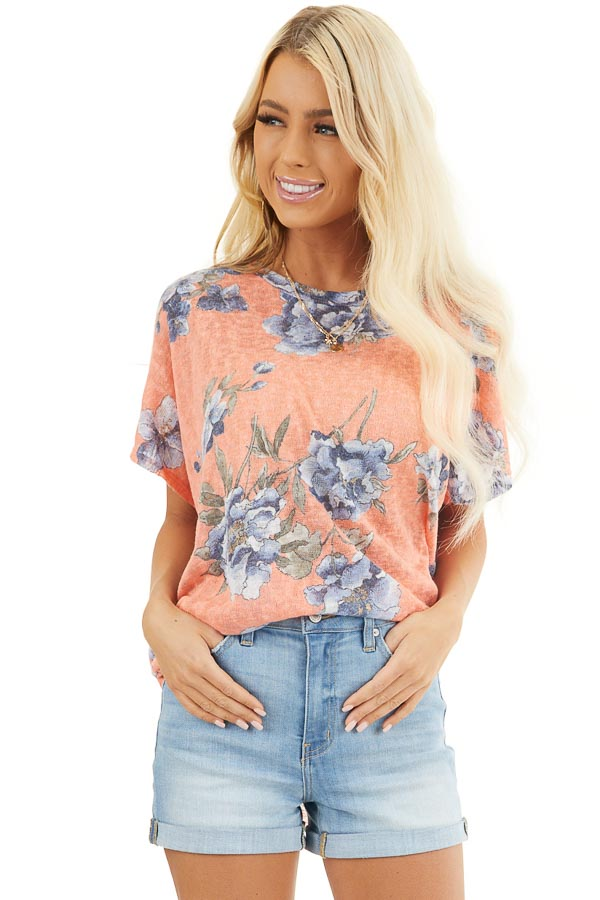 Coral Floral Print Short Sleeve Top with Open Back Detail front close up