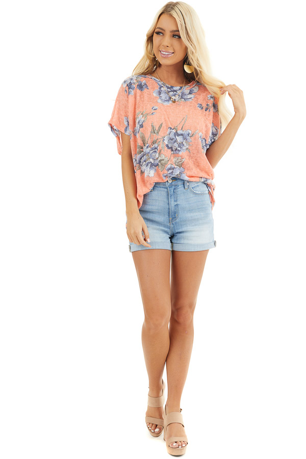 Coral Floral Print Short Sleeve Top with Open Back Detail front full body