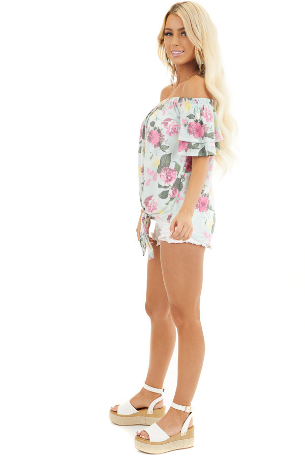 Baby Blue Floral Print Off Shoulder Top with Tie Detail side full body
