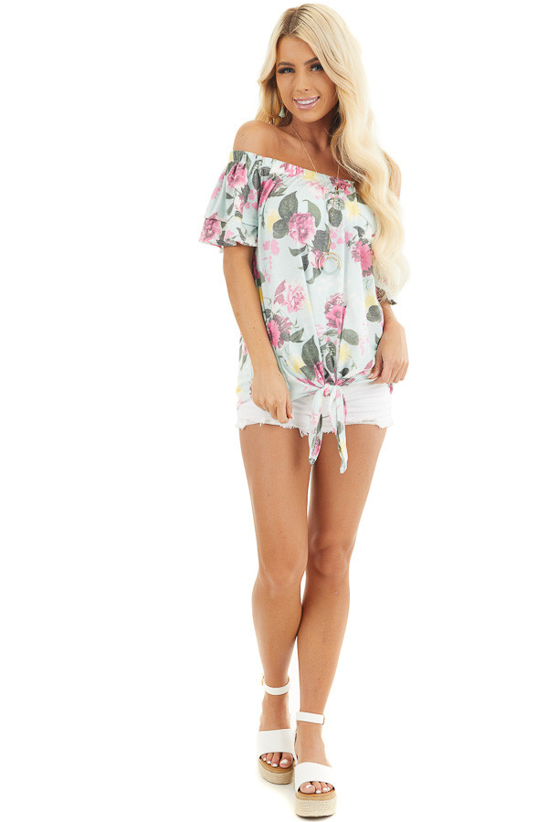Baby Blue Floral Print Off Shoulder Top with Tie Detail front full body