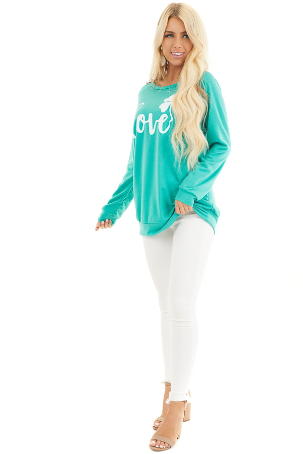 Green Long Sleeve 'Love' Tee with Shamrock front full body