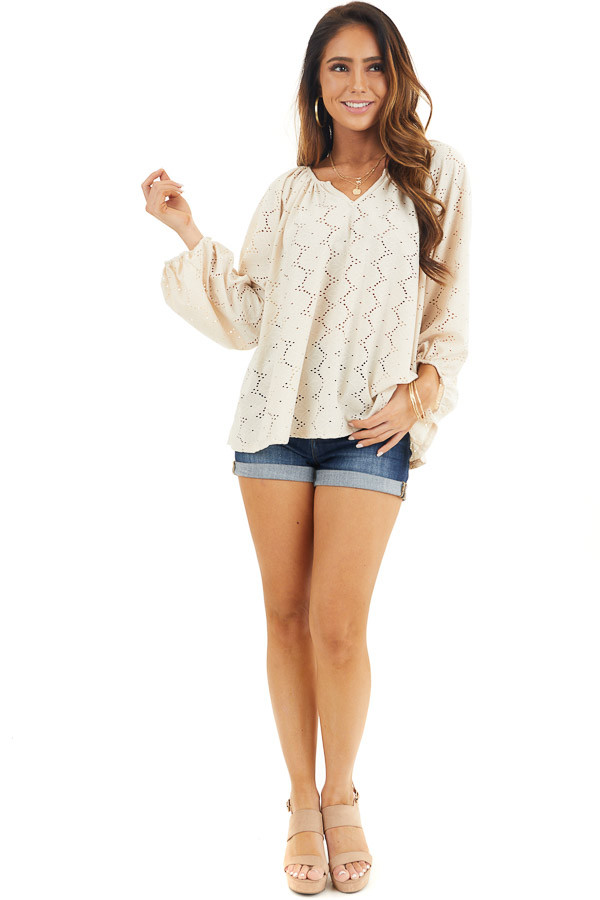 Champagne Floral Embroidered Blouse with Eyelet Details front full body