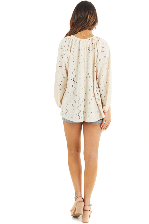 Champagne Floral Embroidered Blouse with Eyelet Details back full body