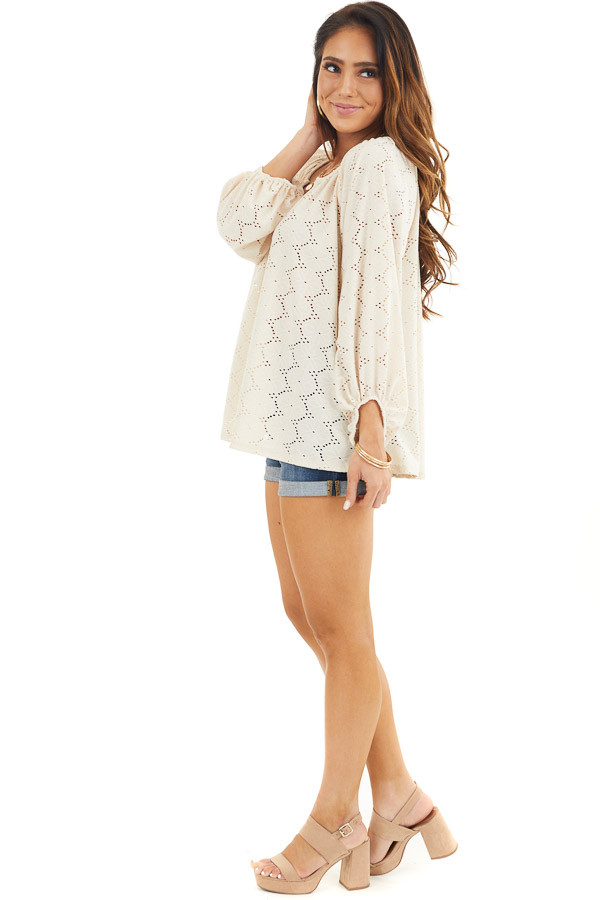 Champagne Floral Embroidered Blouse with Eyelet Details side full body