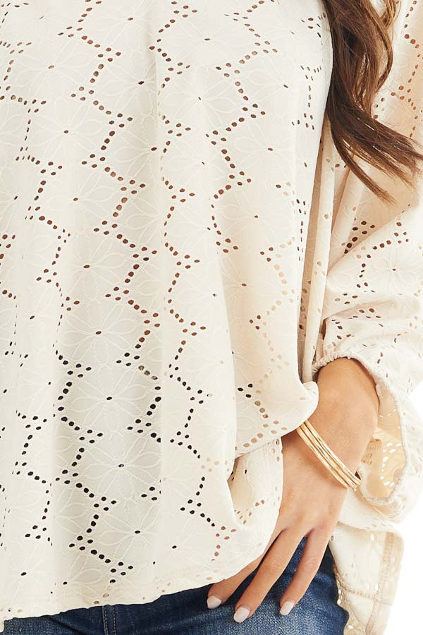 Champagne Floral Embroidered Blouse with Eyelet Details detail