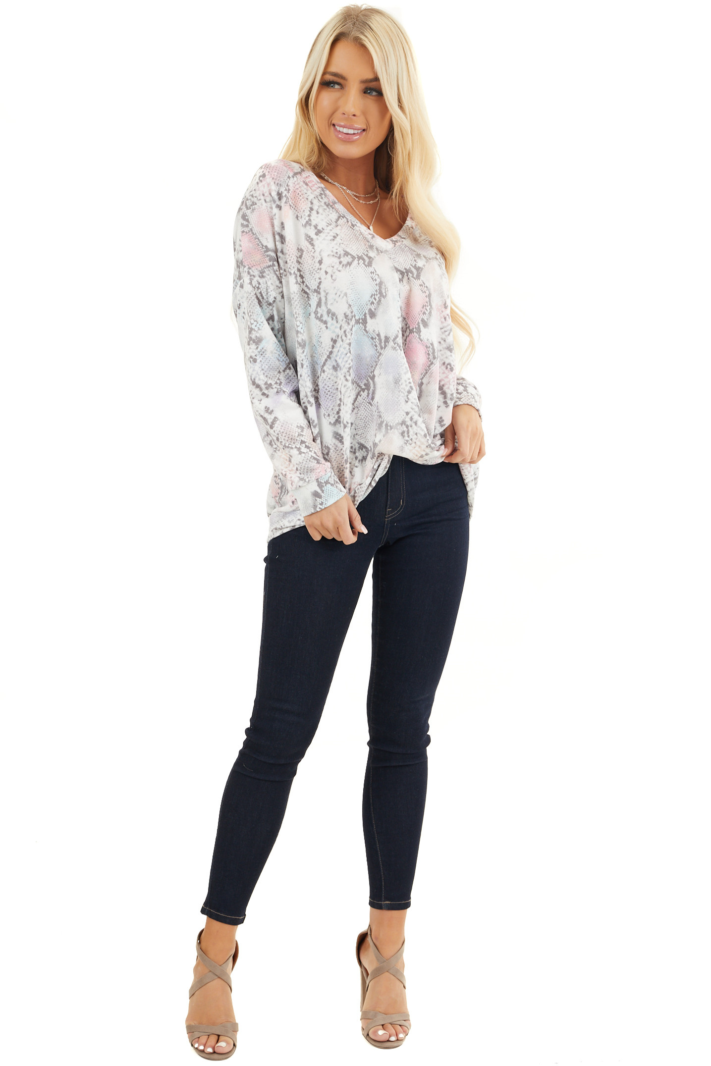 Multicolor Snake Print Top with V Neckline and Front Twist front full body