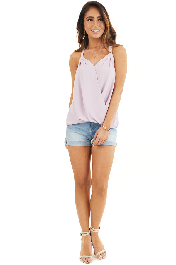 Lavender Surplice Tank Top with Bubble Hemline front full body