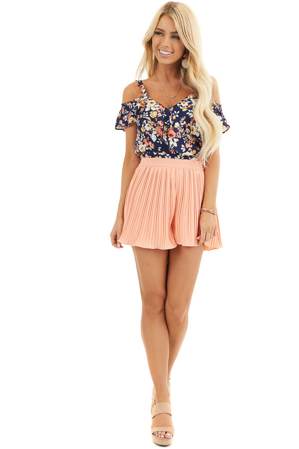 Peach High Waisted Pleated Shorts with Scalloped Hem front full body