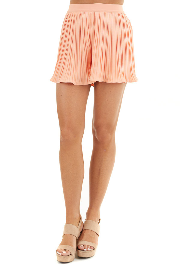 Peach High Waisted Pleated Shorts with Scalloped Hem front view