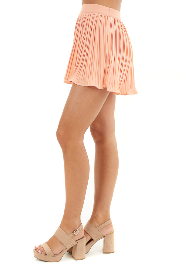 Peach High Waisted Pleated Shorts with Scalloped Hem side view