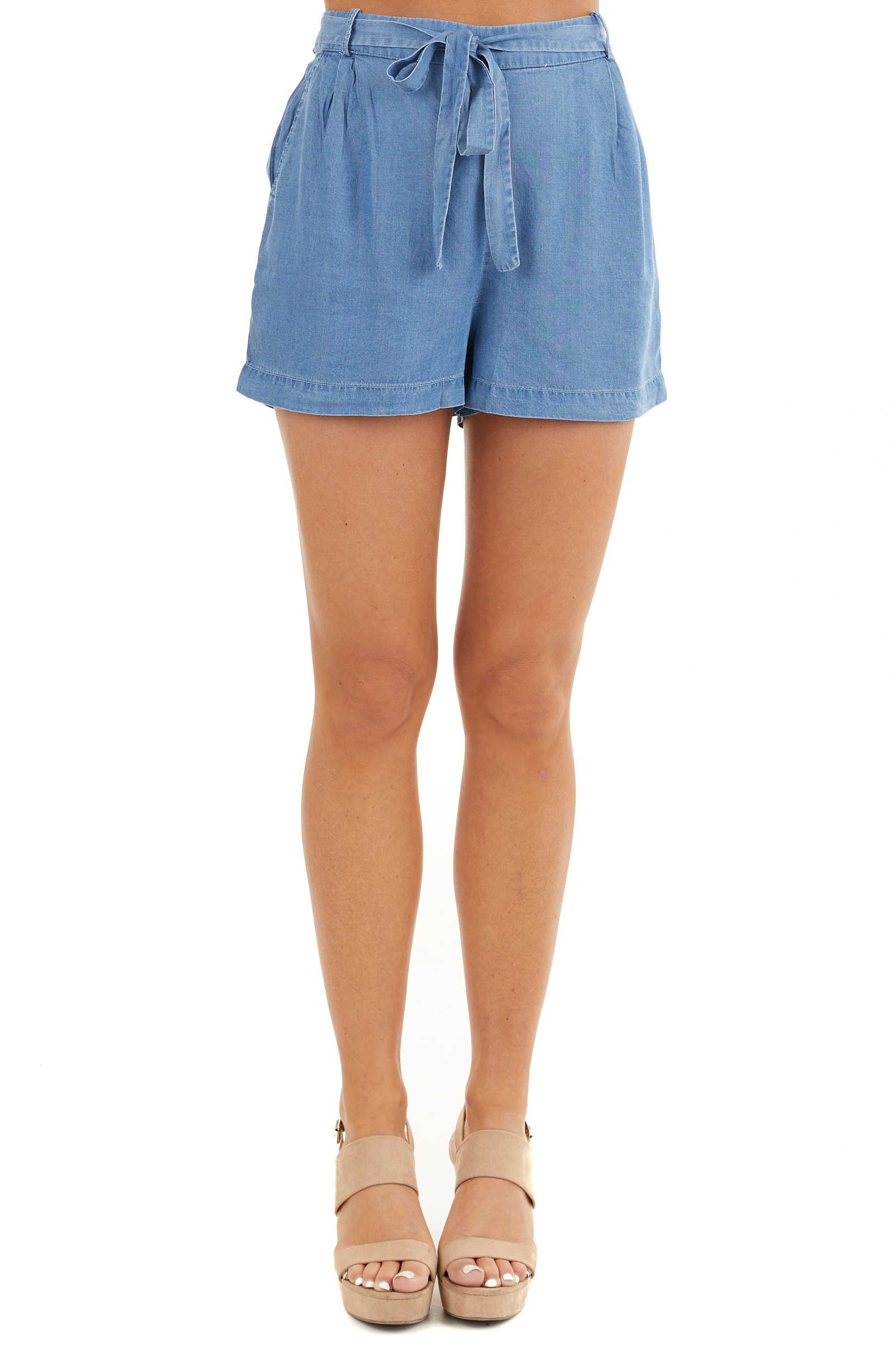 Denim Blue High Waisted Chambray Shorts with Tie Detail front view