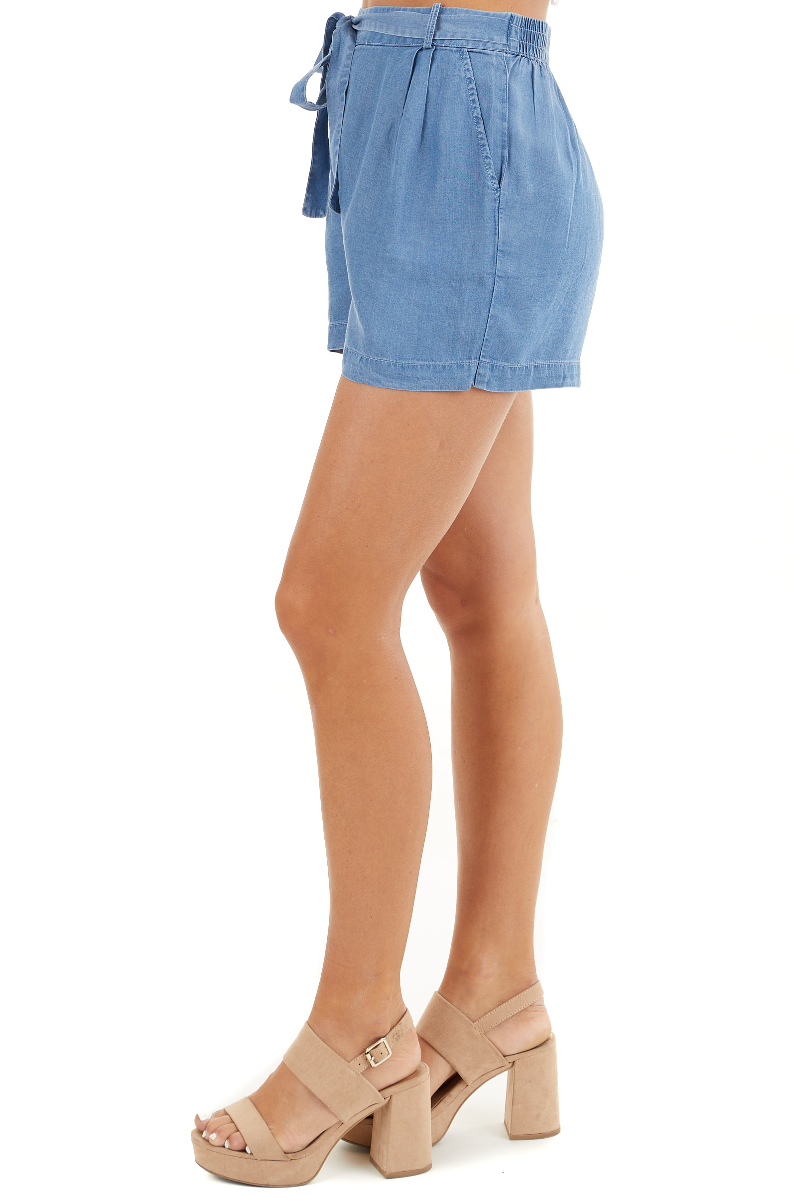 Denim Blue High Waisted Chambray Shorts with Tie Detail side view