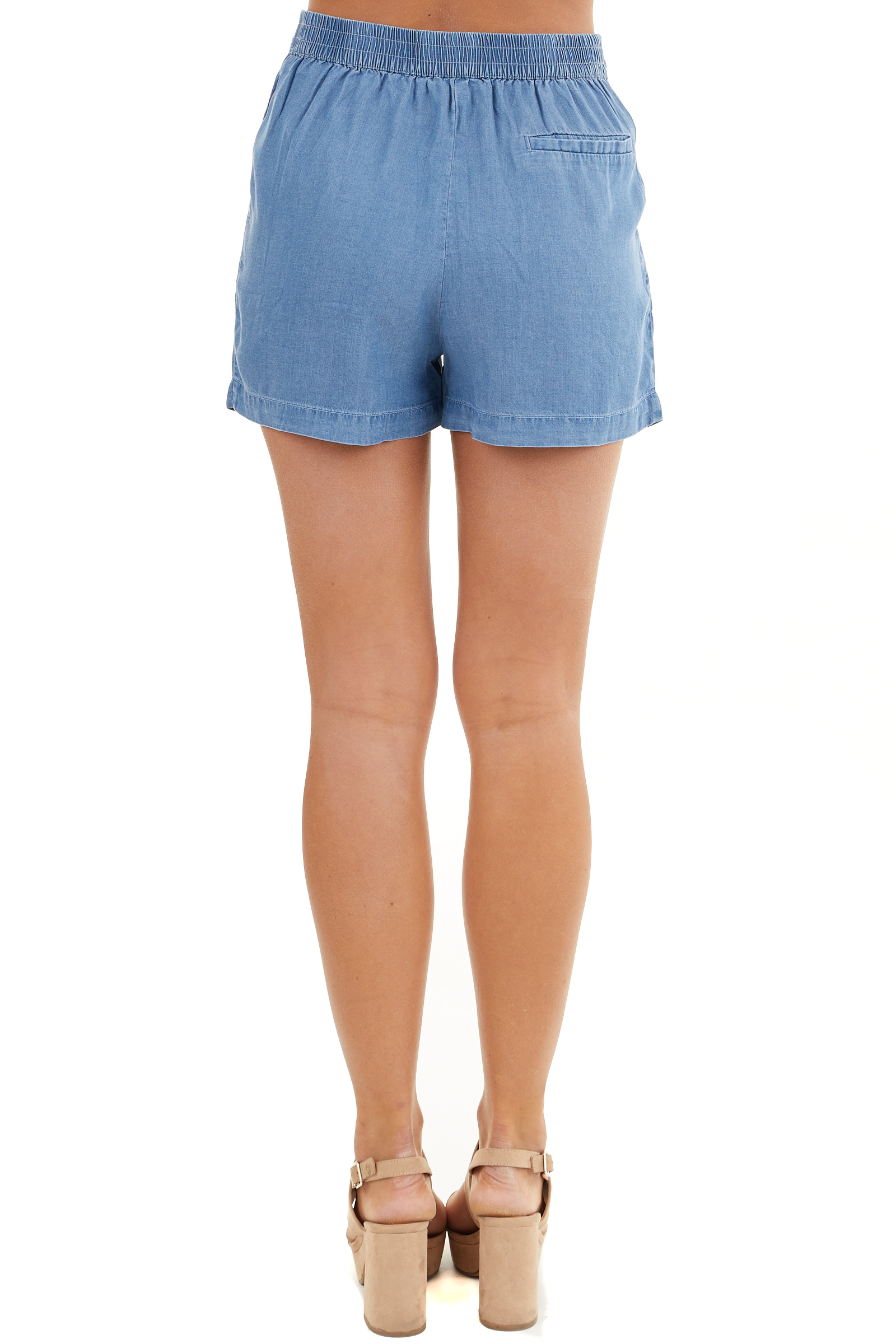 Denim Blue High Waisted Chambray Shorts with Tie Detail back view