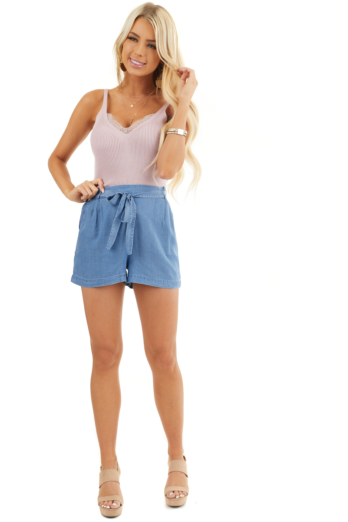 Denim Blue High Waisted Chambray Shorts with Tie Detail front full body