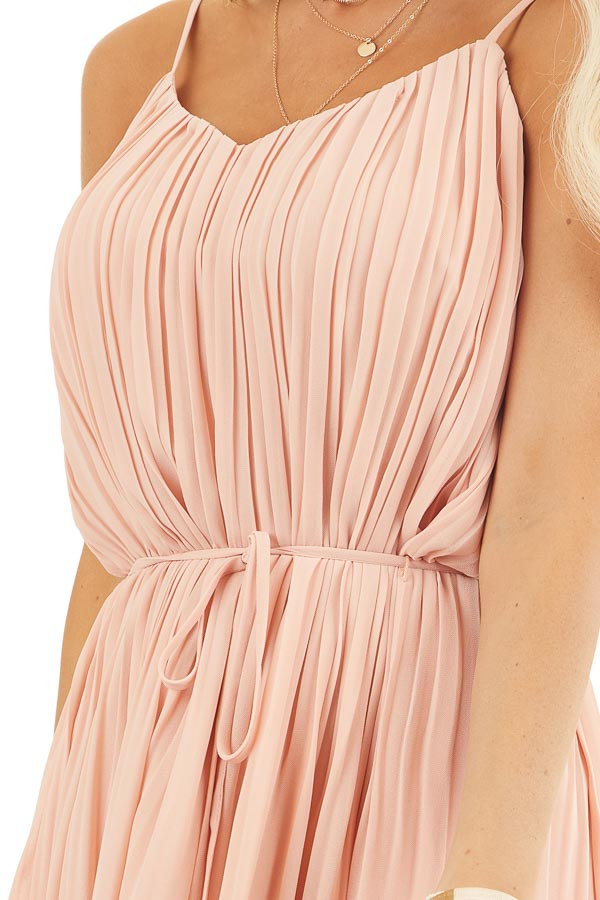 Blush Spaghetti Strap Pleated Shift Dress with Waist Tie detail