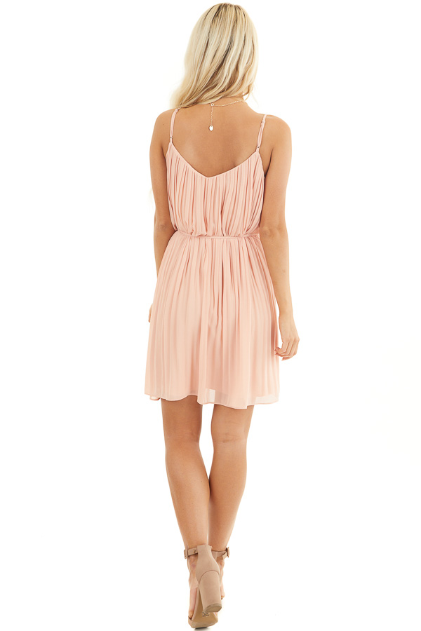Blush Spaghetti Strap Pleated Shift Dress with Waist Tie back full body