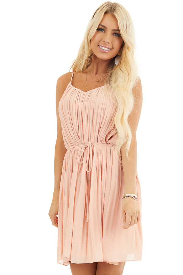 Blush Spaghetti Strap Pleated Shift Dress with Waist Tie front close up