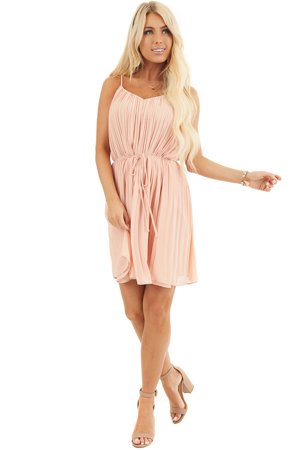 Blush Spaghetti Strap Pleated Shift Dress with Waist Tie front full body