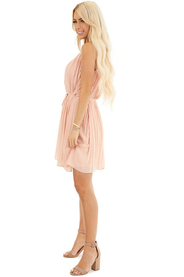 Blush Spaghetti Strap Pleated Shift Dress with Waist Tie side full body