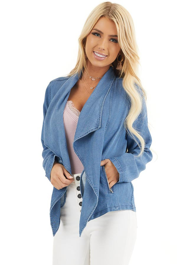Denim Blue Open Front Chambray Blazer with Side Pockets front close up