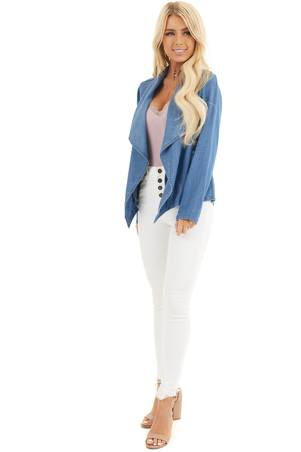 Denim Blue Open Front Chambray Blazer with Side Pockets front full body