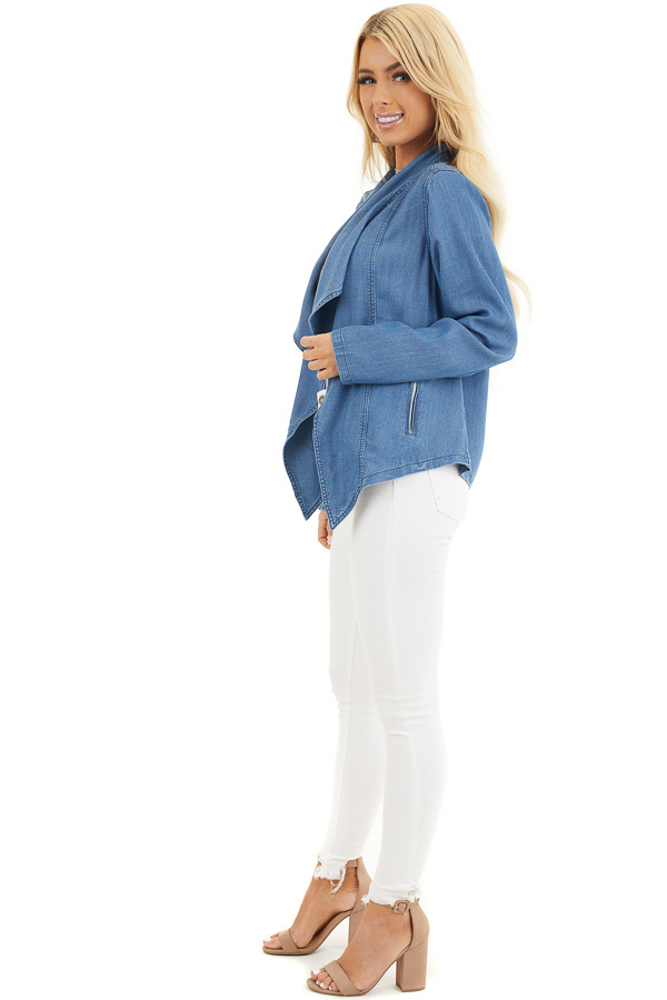Denim Blue Open Front Chambray Blazer with Side Pockets side full body