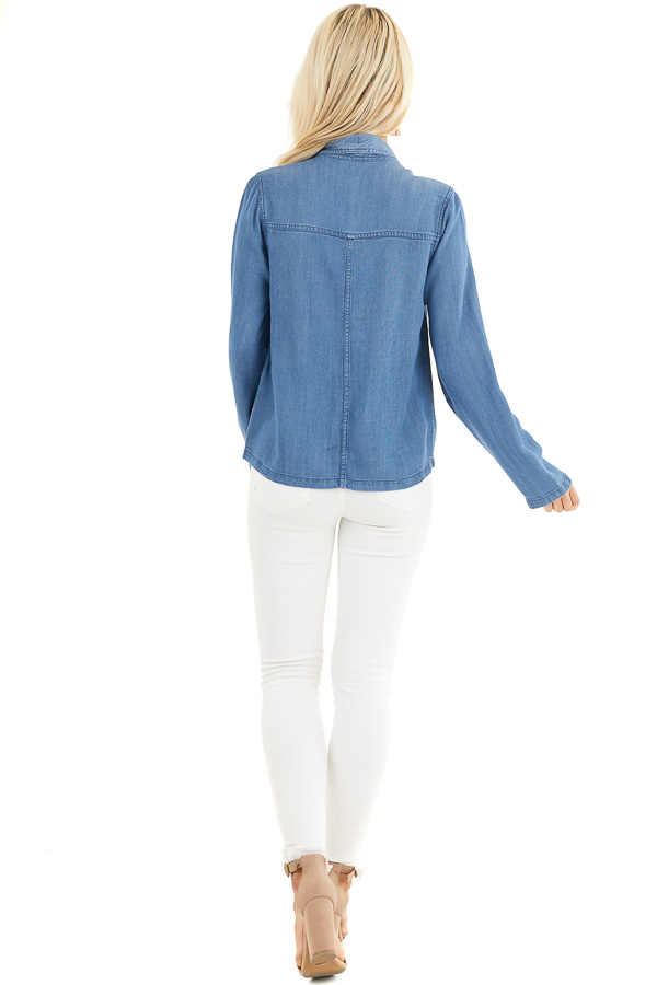 Denim Blue Open Front Chambray Blazer with Side Pockets back full body