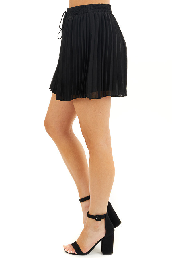 Black Pleated Elastic Waist Shorts with Non Functional Tie side view