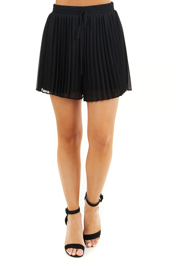 Black Pleated Elastic Waist Shorts with Non Functional Tie front view
