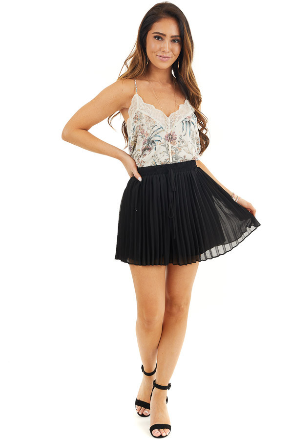 Black Pleated Elastic Waist Shorts with Non Functional Tie front full body