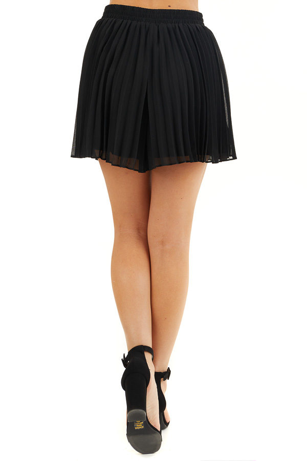 Black Pleated Elastic Waist Shorts with Non Functional Tie back view