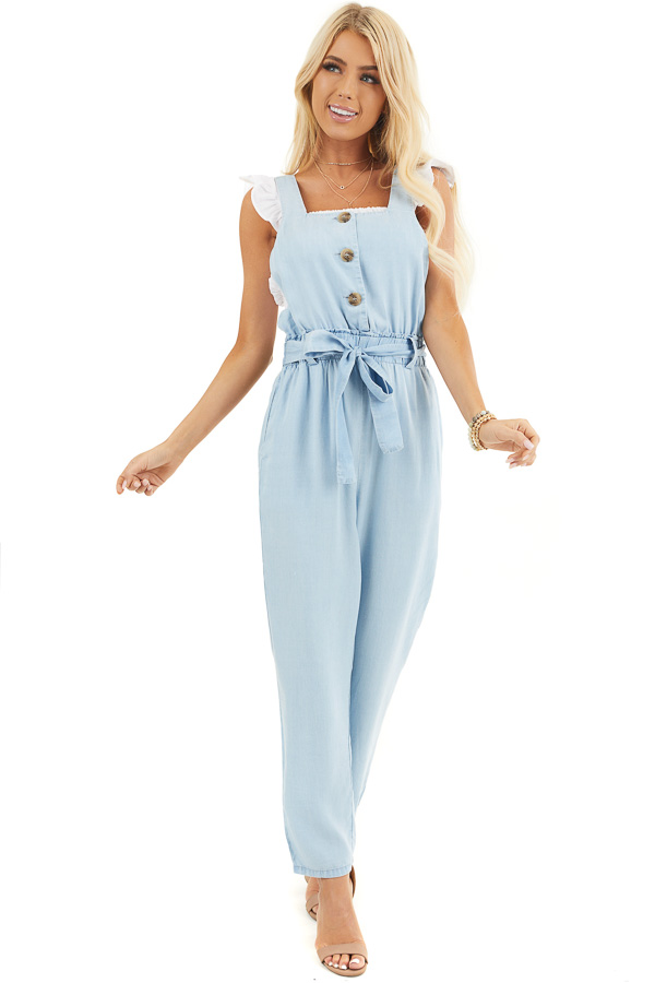 Light Blue Chambray Overall Jumpsuit with Front Buttons front full body