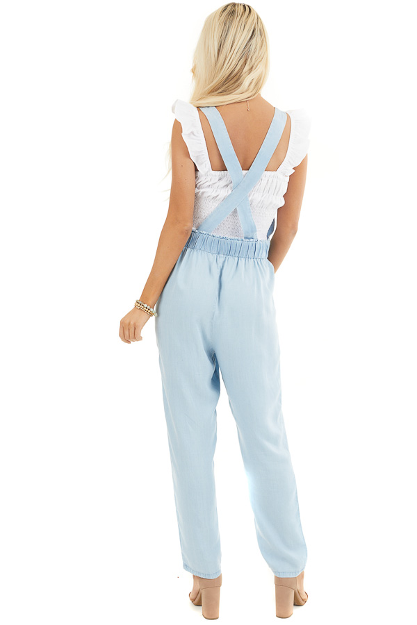 Light Blue Chambray Overall Jumpsuit with Front Buttons back full body