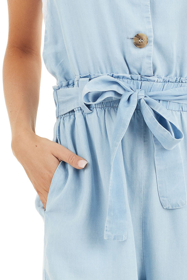 Light Blue Chambray Overall Jumpsuit with Front Buttons detail