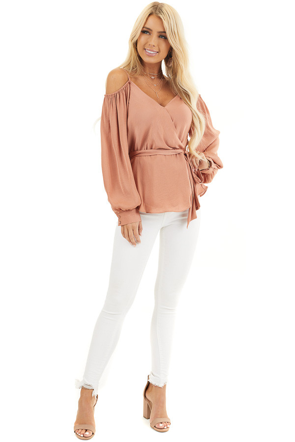 Terracotta Cold Shoulder Silk Wrap Blouse with Waist Tie front full body