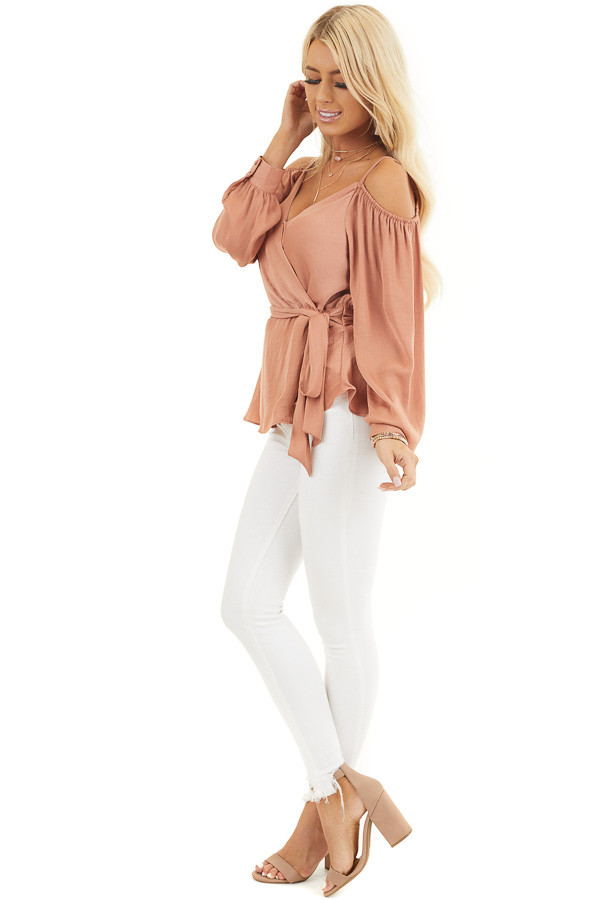 Terracotta Cold Shoulder Silk Wrap Blouse with Waist Tie side full body