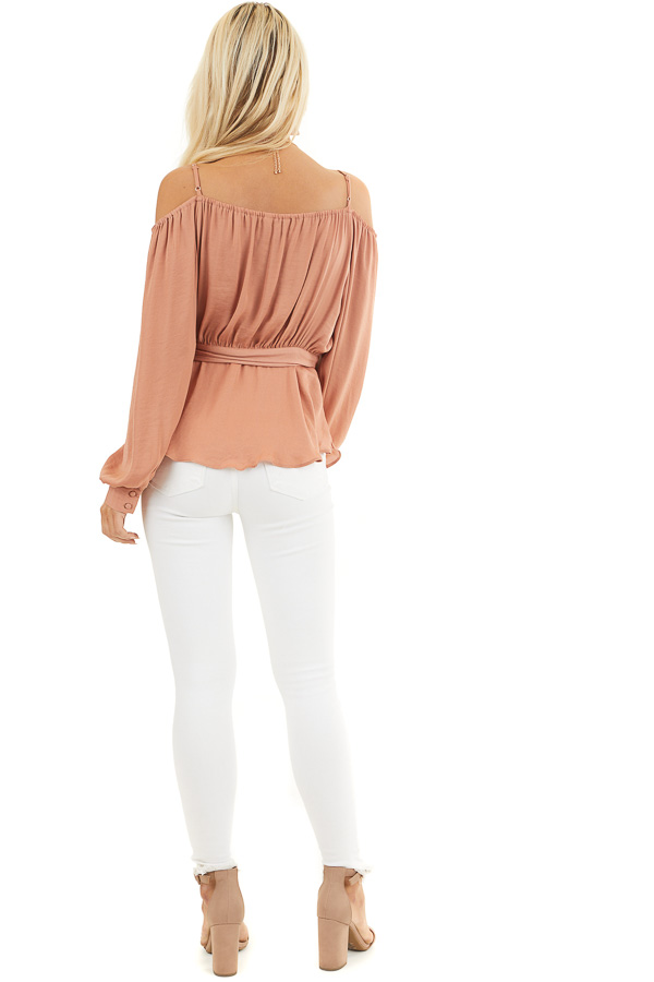 Terracotta Cold Shoulder Silk Wrap Blouse with Waist Tie back full body