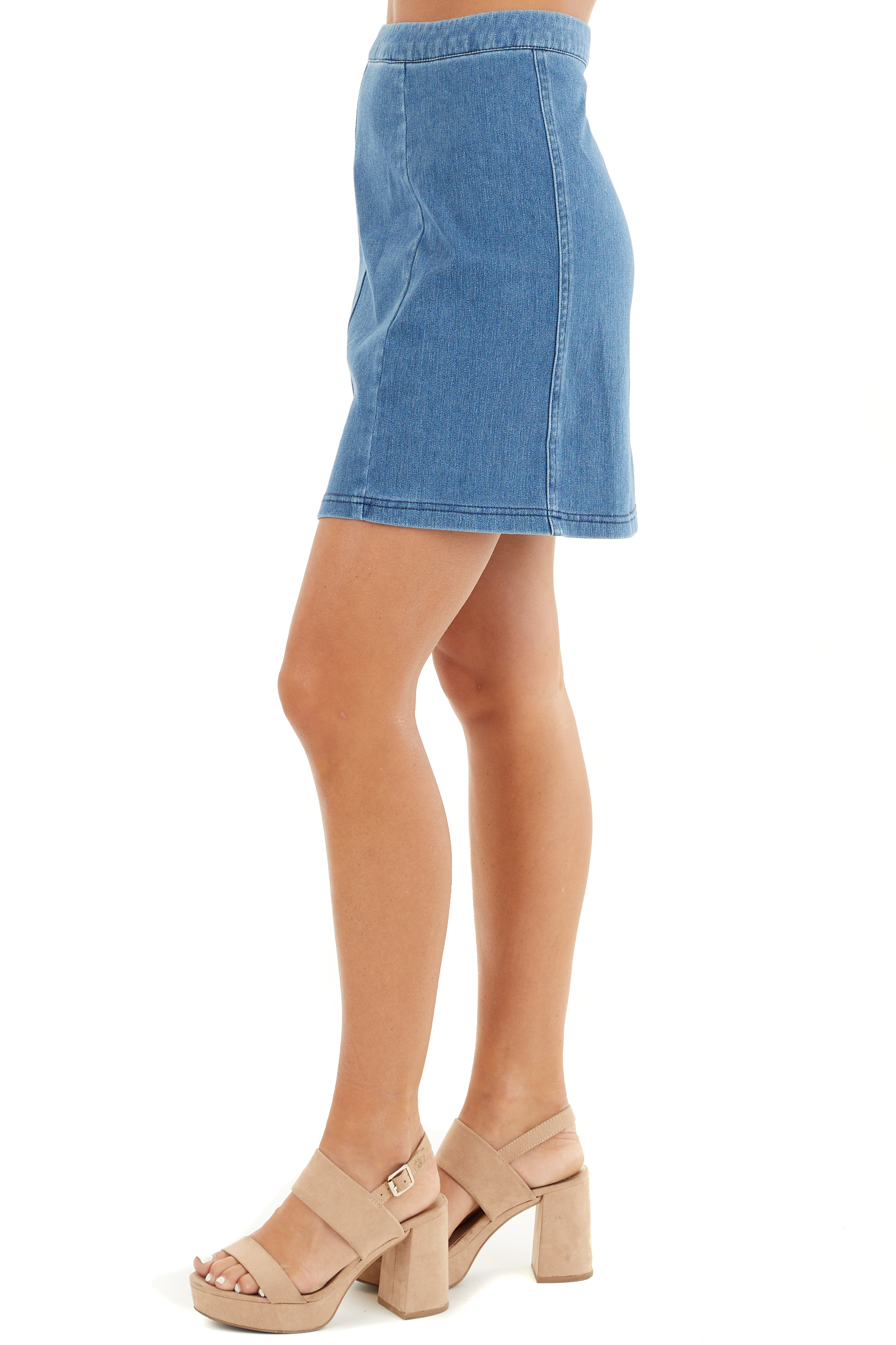 Denim Blue Zip Up Stretchy Mini Skirt side view