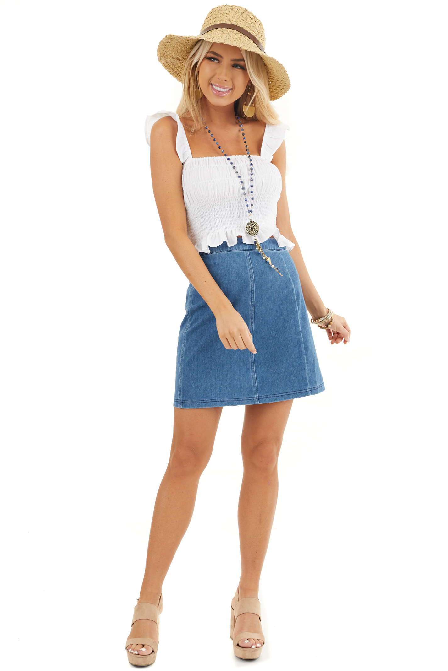 Denim Blue Zip Up Stretchy Mini Skirt front full body