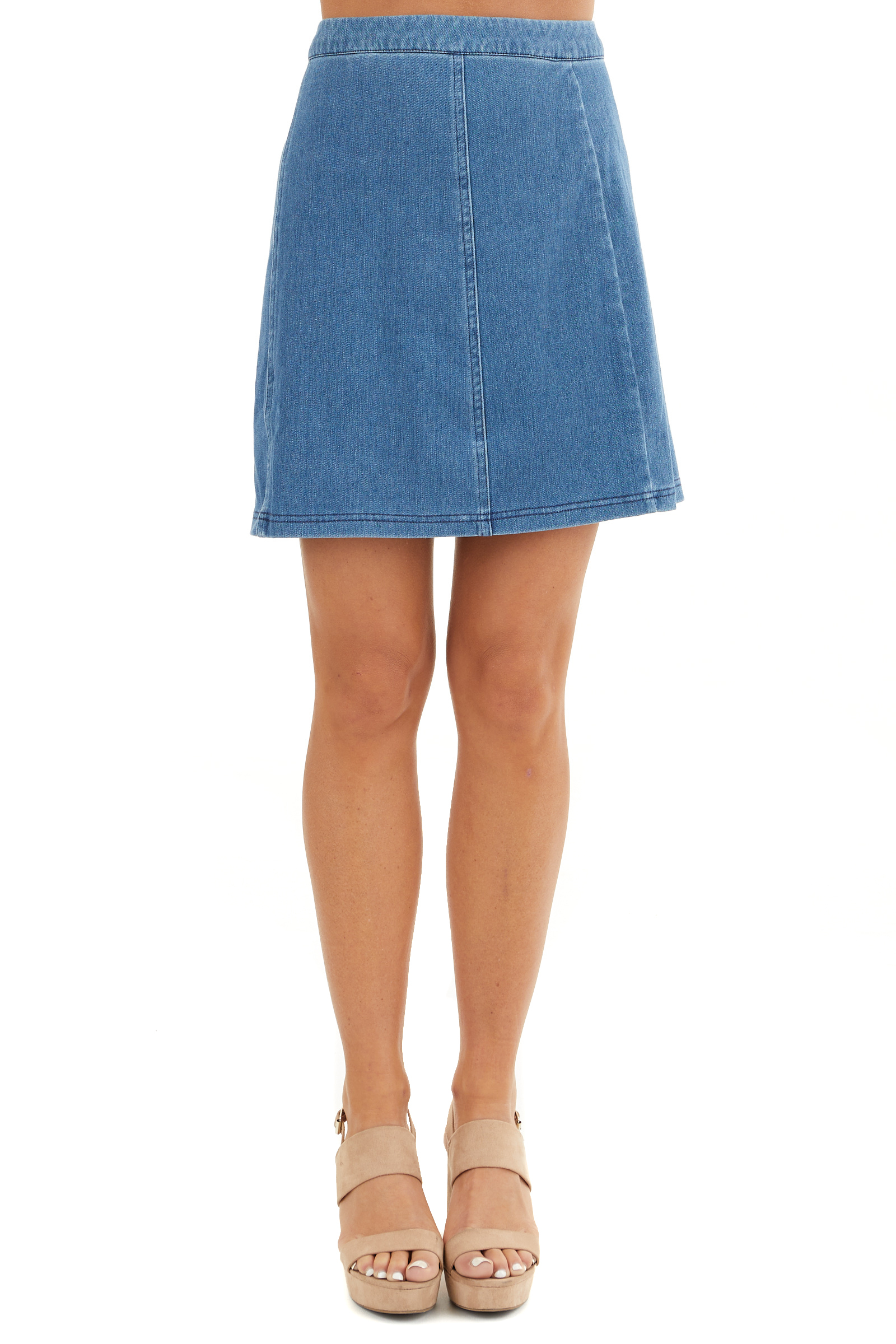 Denim Blue Zip Up Stretchy Mini Skirt front view