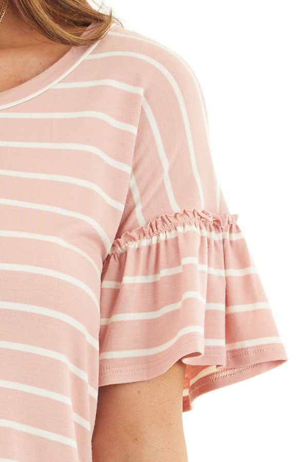 Blush and Ivory Striped Tee with Short Bell Sleeves detail