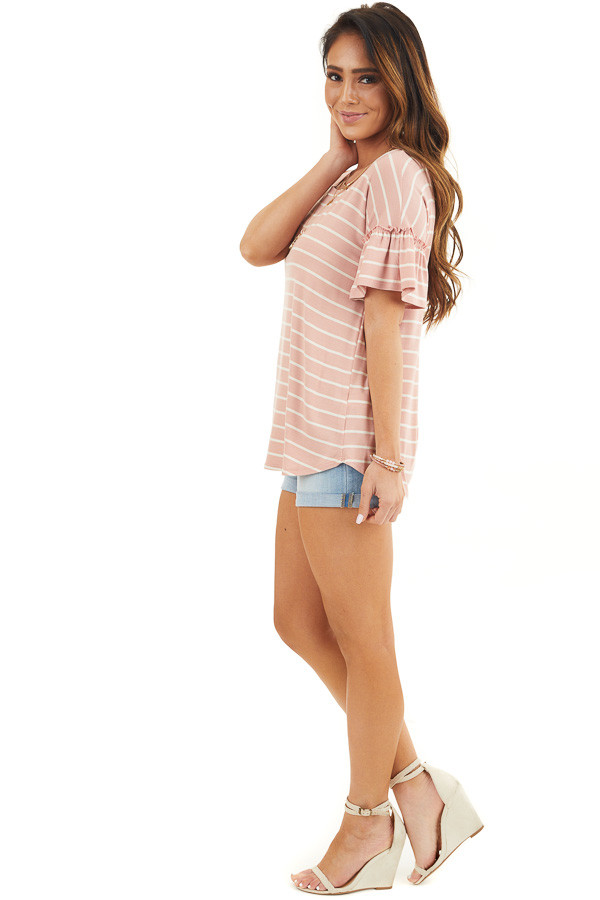 Blush and Ivory Striped Tee with Short Bell Sleeves side full body
