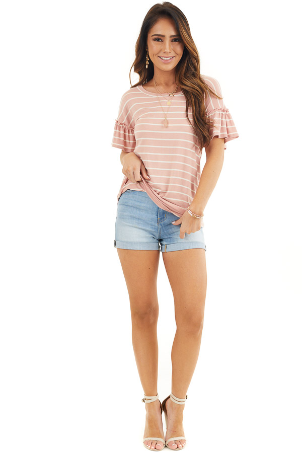 Blush and Ivory Striped Tee with Short Bell Sleeves front full body