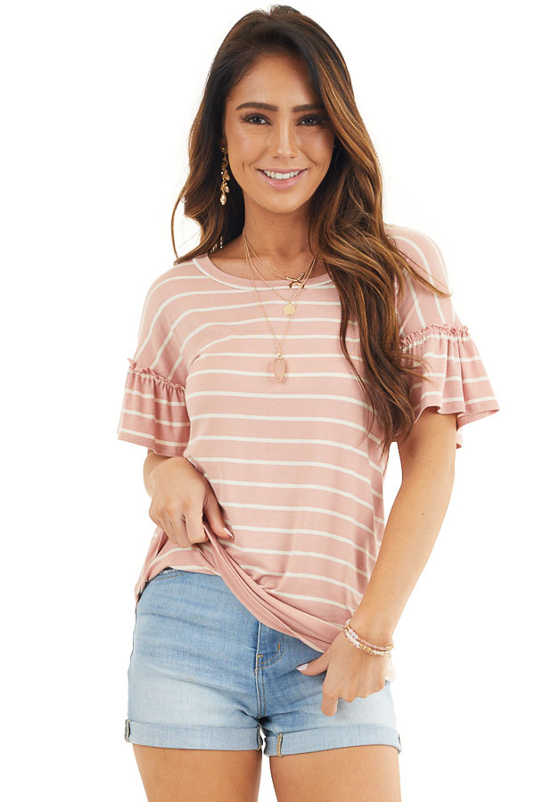 Blush and Ivory Striped Tee with Short Bell Sleeves front close up