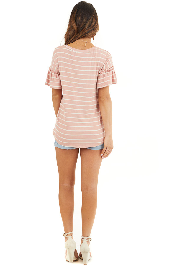 Blush and Ivory Striped Tee with Short Bell Sleeves back full body