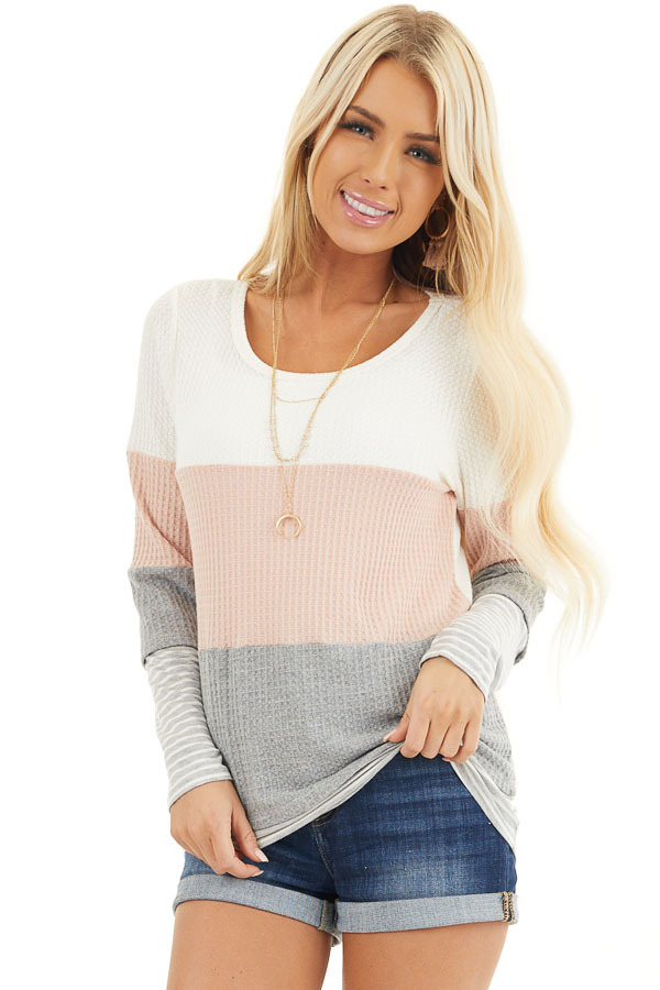 Blush and Heather Grey Colorblock Long Sleeve Top front close up