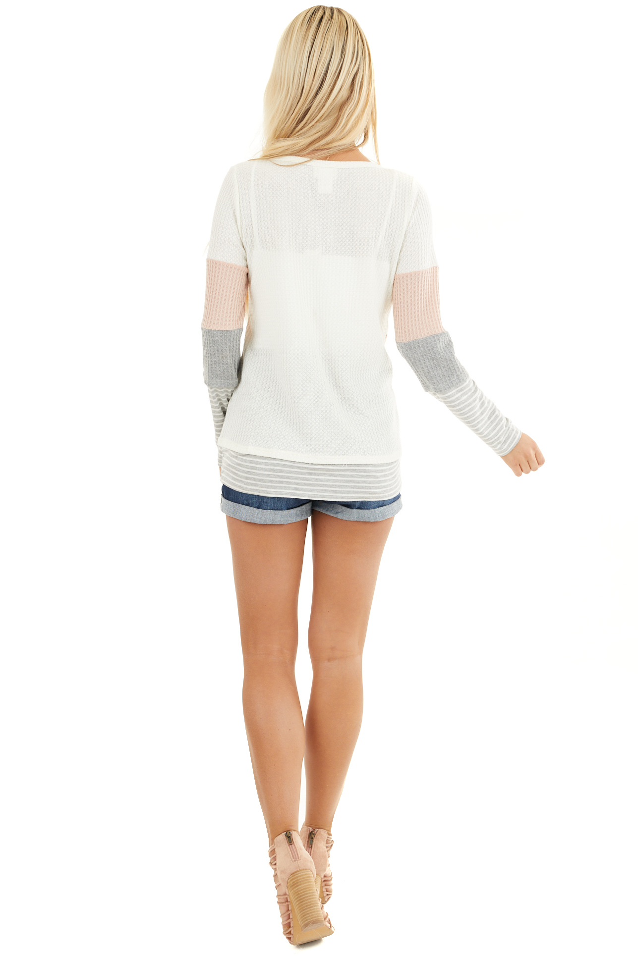 Blush and Heather Grey Colorblock Long Sleeve Top back full body